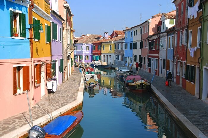 The Island of Burano and its bright coloured houses