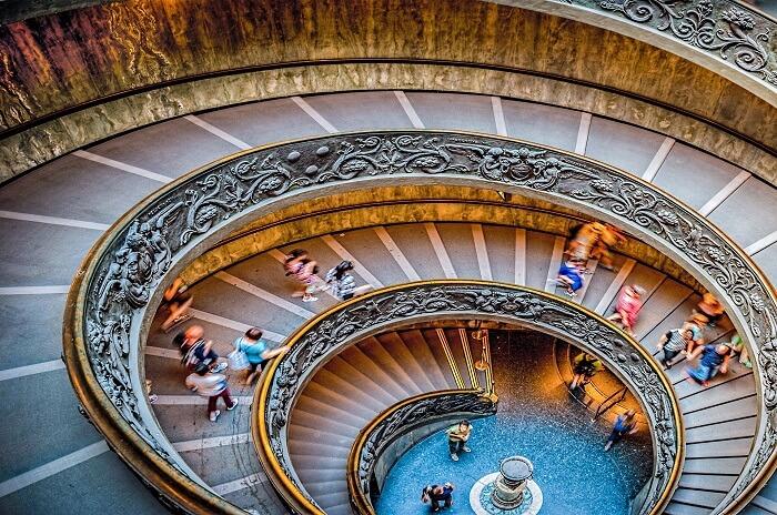 Circular stairway inside the Vatican