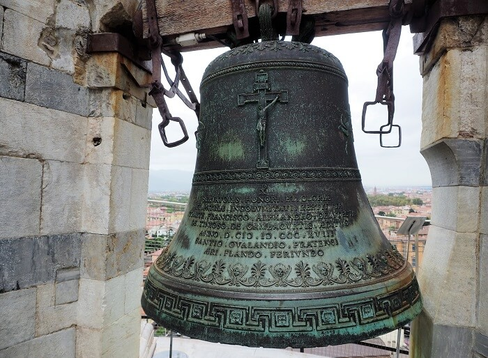 The bell at the top of the Leaning Tower